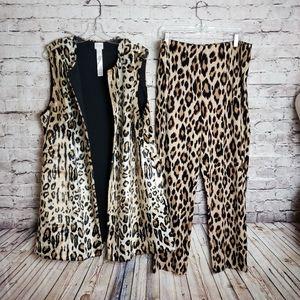 Chicos 2 Piece Leopard Print Vest & Pants